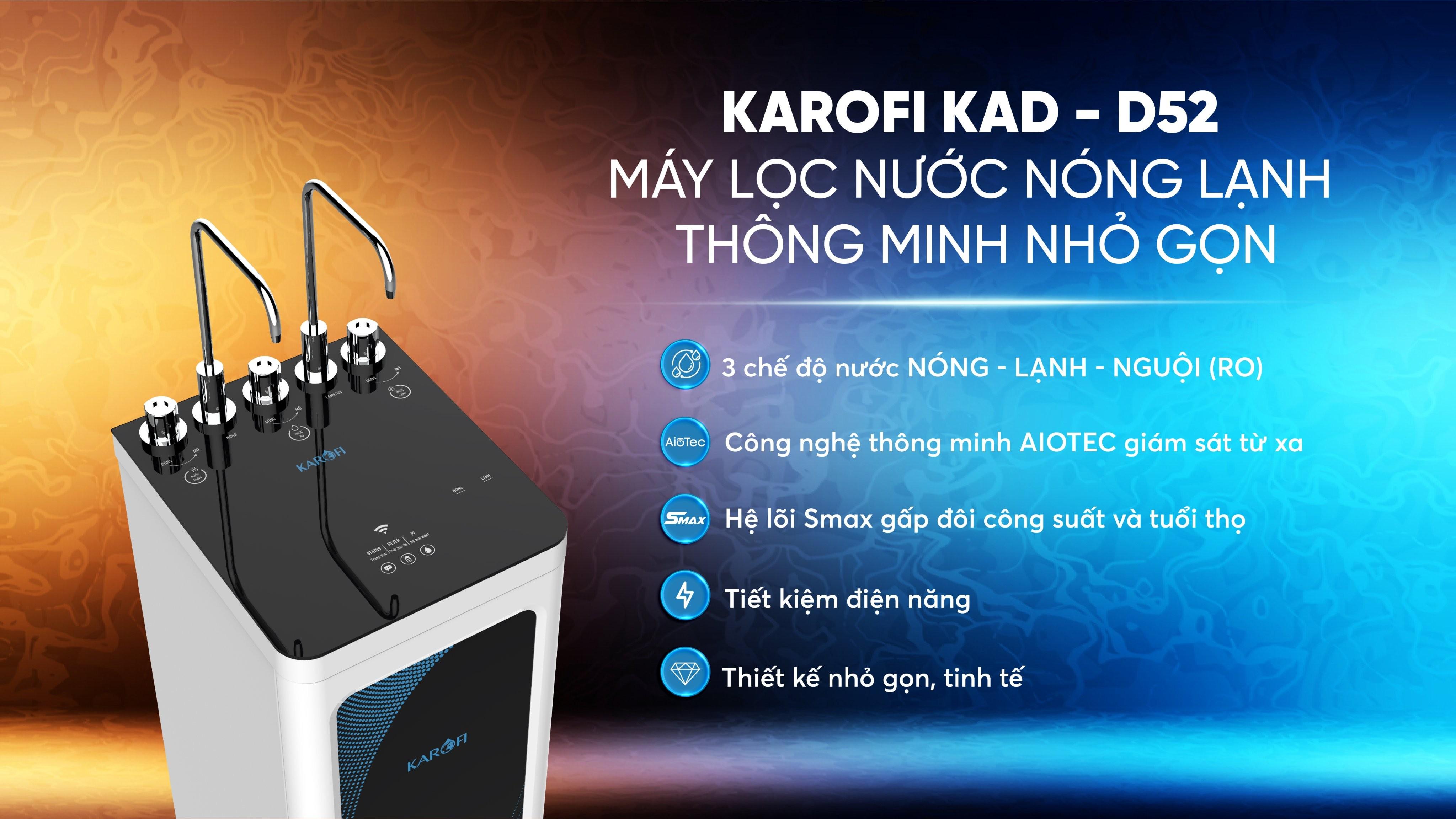 Máy lọc nước nóng lạnh Karofi KAD D52